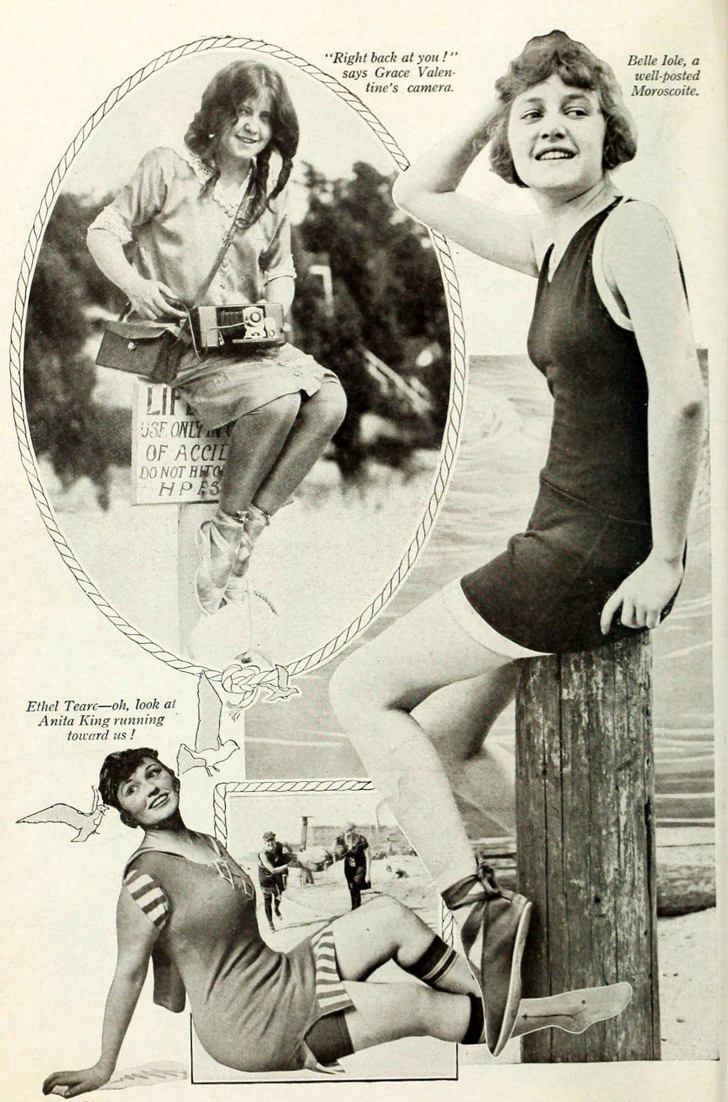 Silent movie actresses at the beach in swimsuits in 1919 (1)