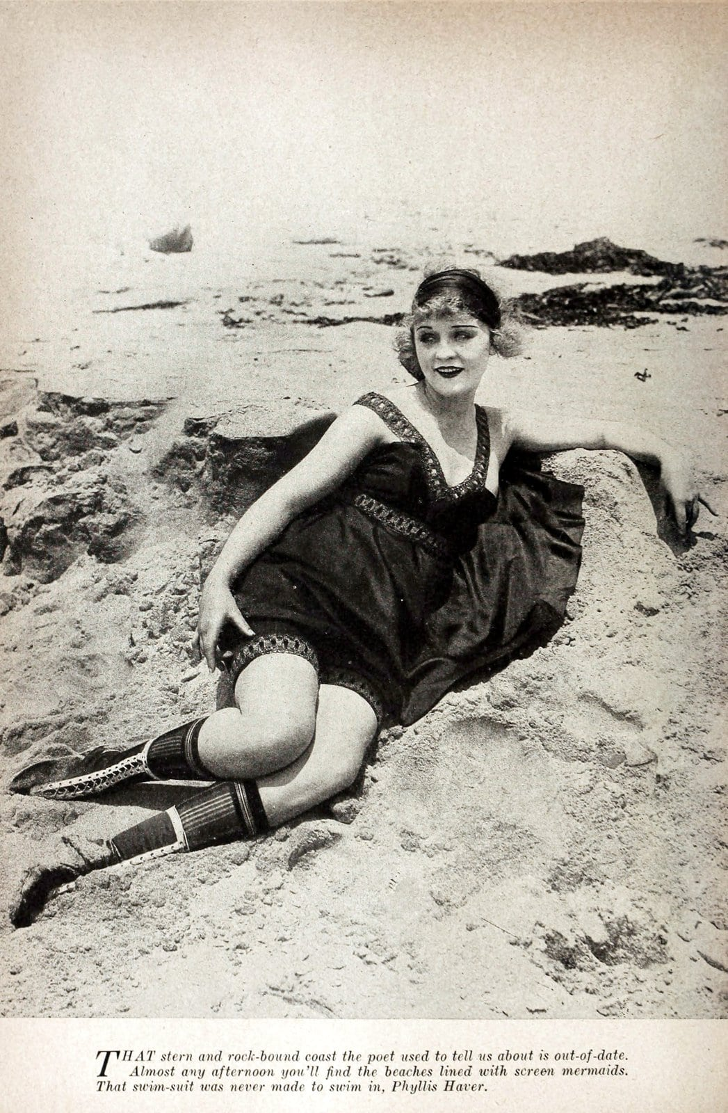 Silent movie actresses at the beach in swimsuits in 1919 (2)