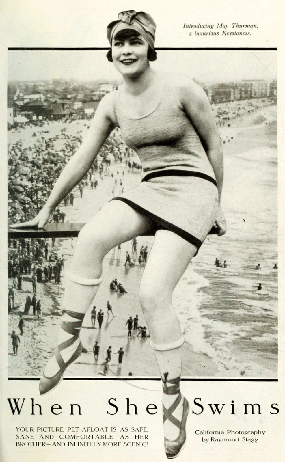 Silent movie actresses at the beach in swimsuits in 1919 (3)
