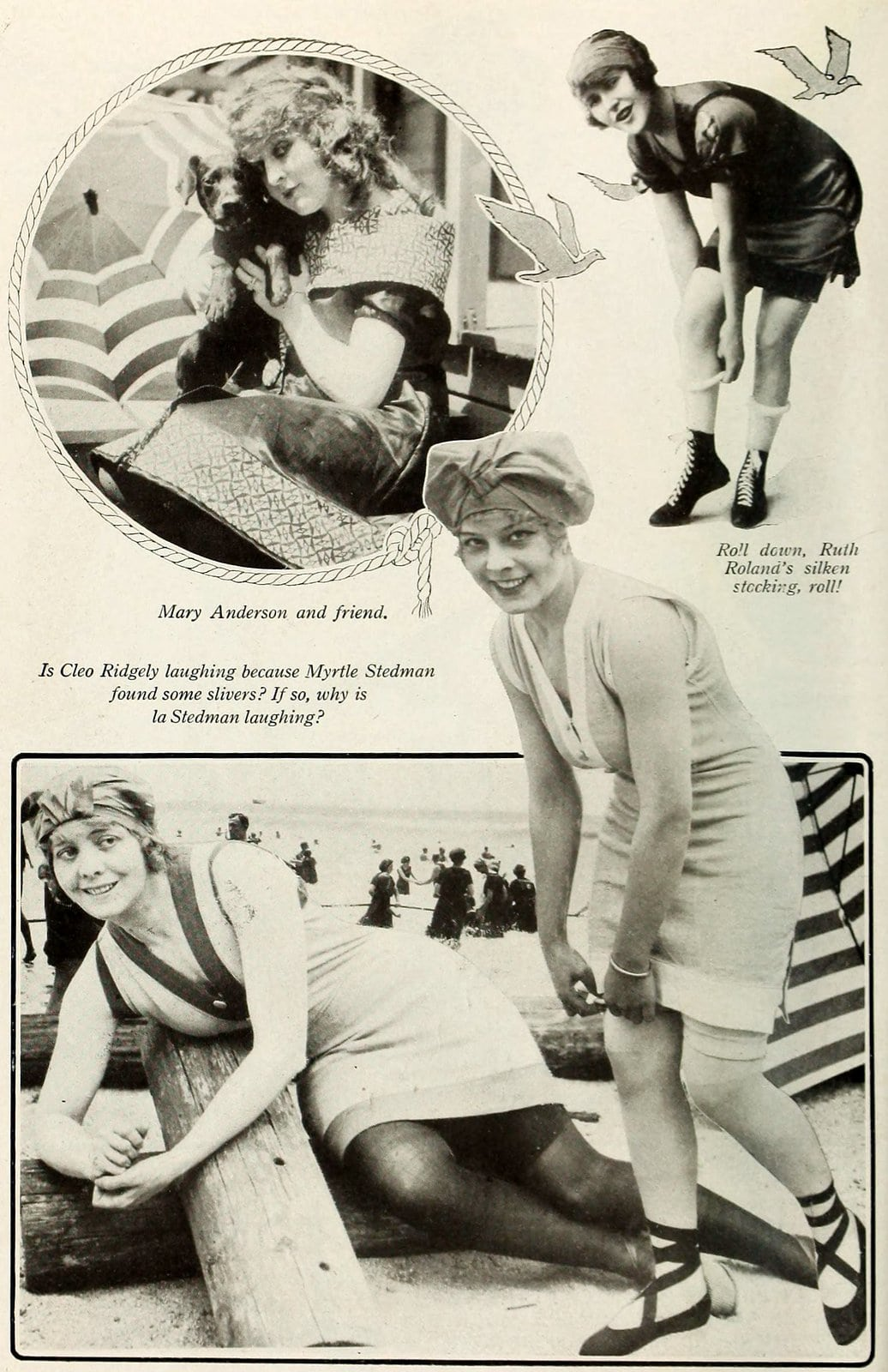 Silent movie actresses at the beach in swimsuits in 1919 (4)