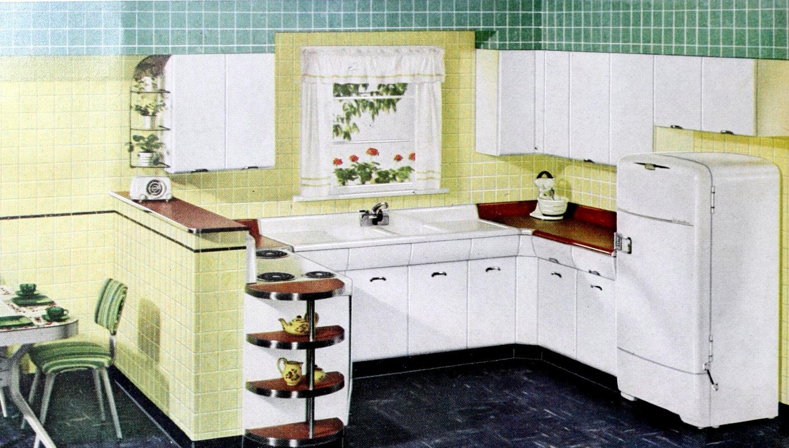 Simple 1950s kitchen design with yellow and green tile walls