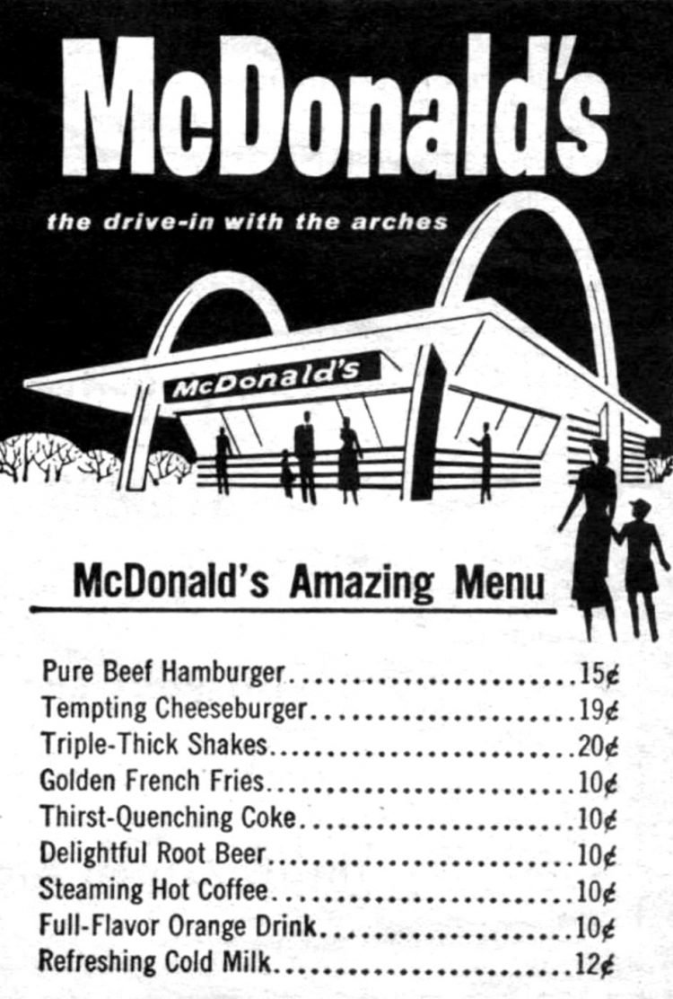 Simple old McDonald's menu from the fifties