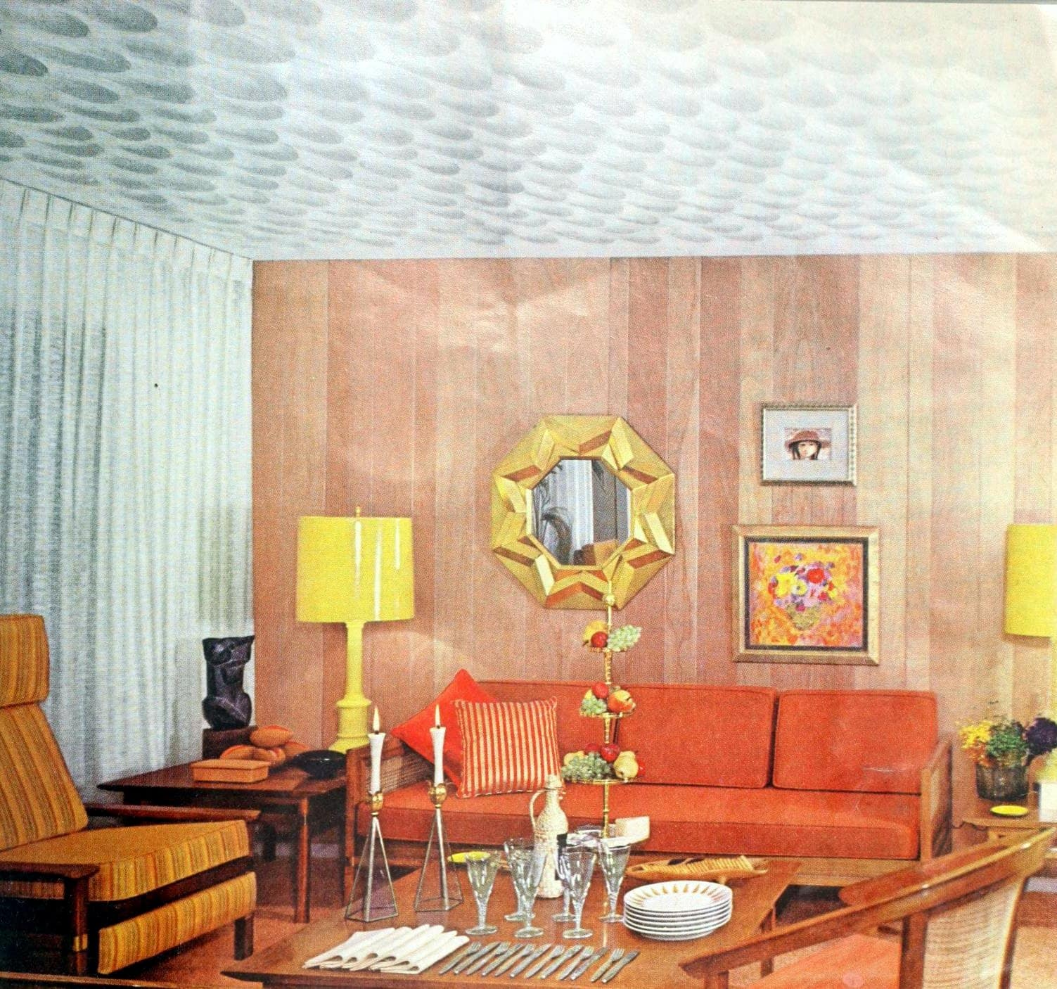 Simple retro 1960s living room decor with unique patterned ceiling