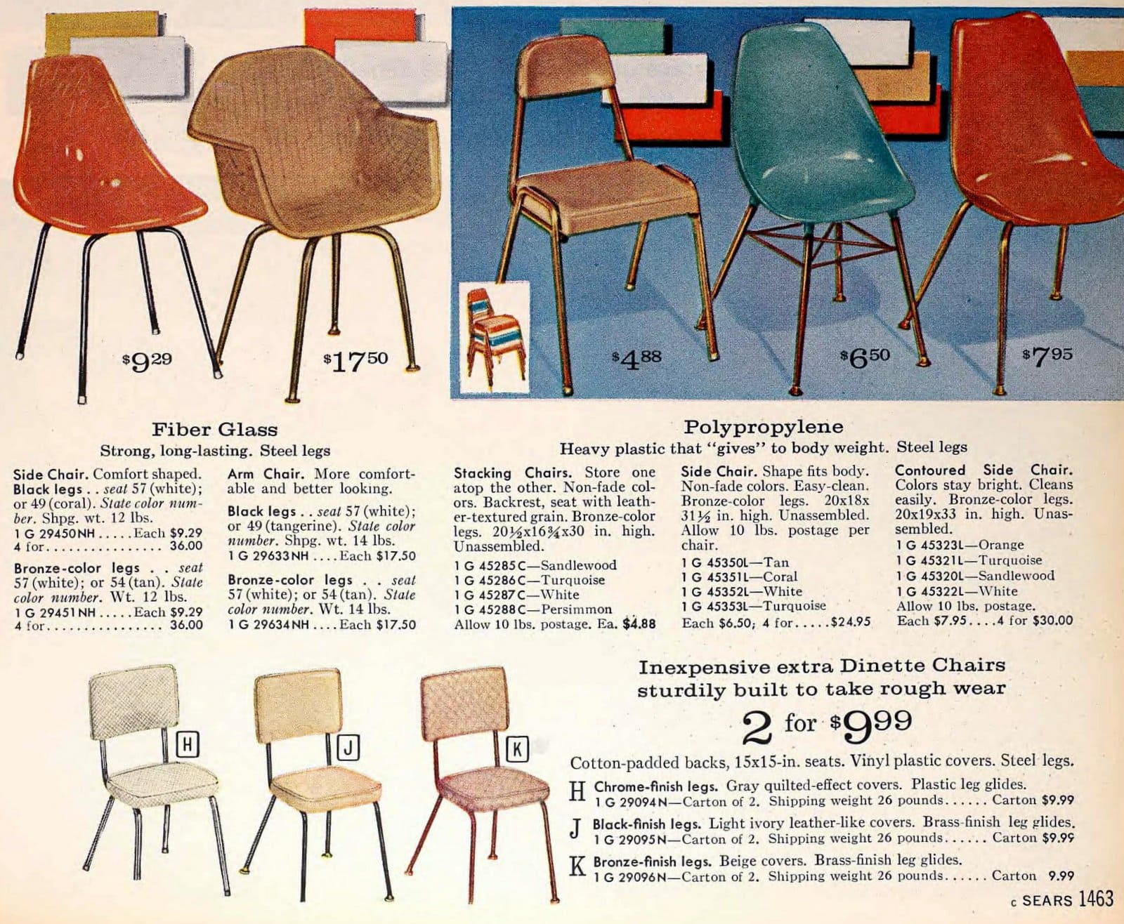 Simple retro 60s chairs from Sears (1963)