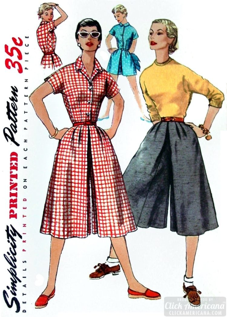 Simplicity culottes from 1955