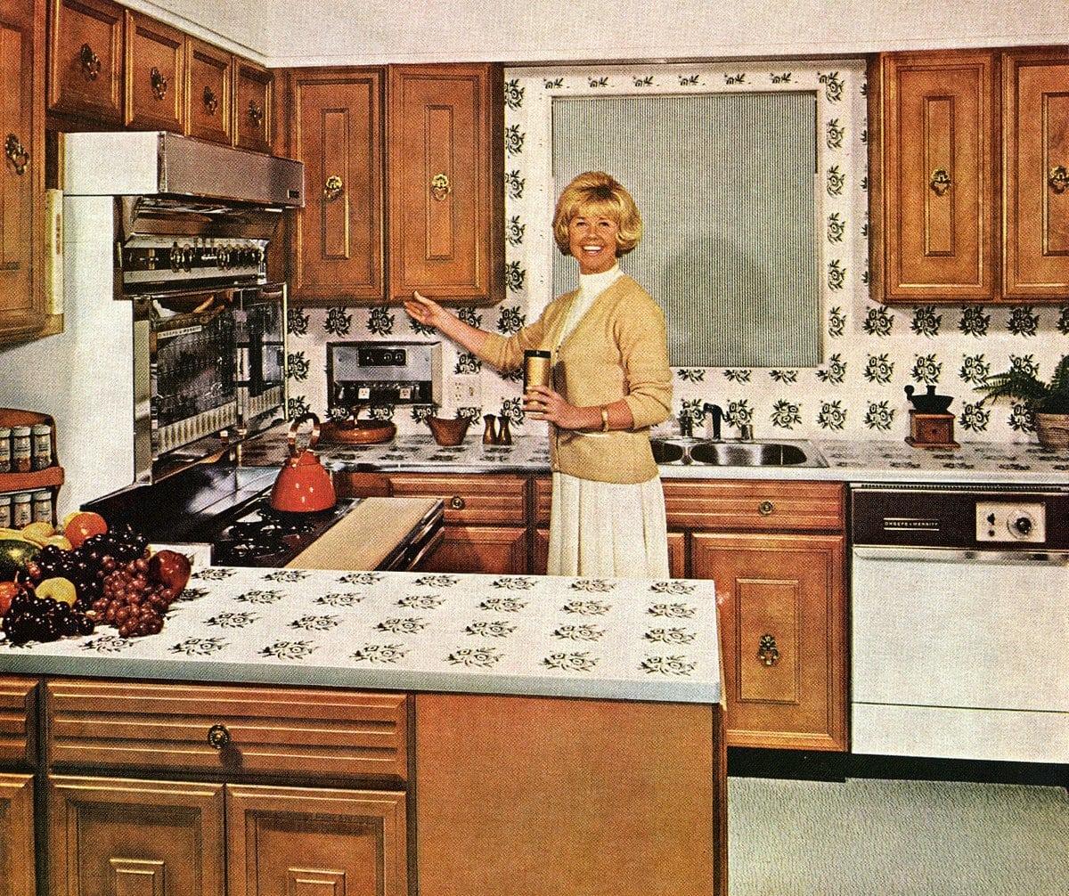 Singer-actress Doris Day vintage 60s kitchen with patterned tile