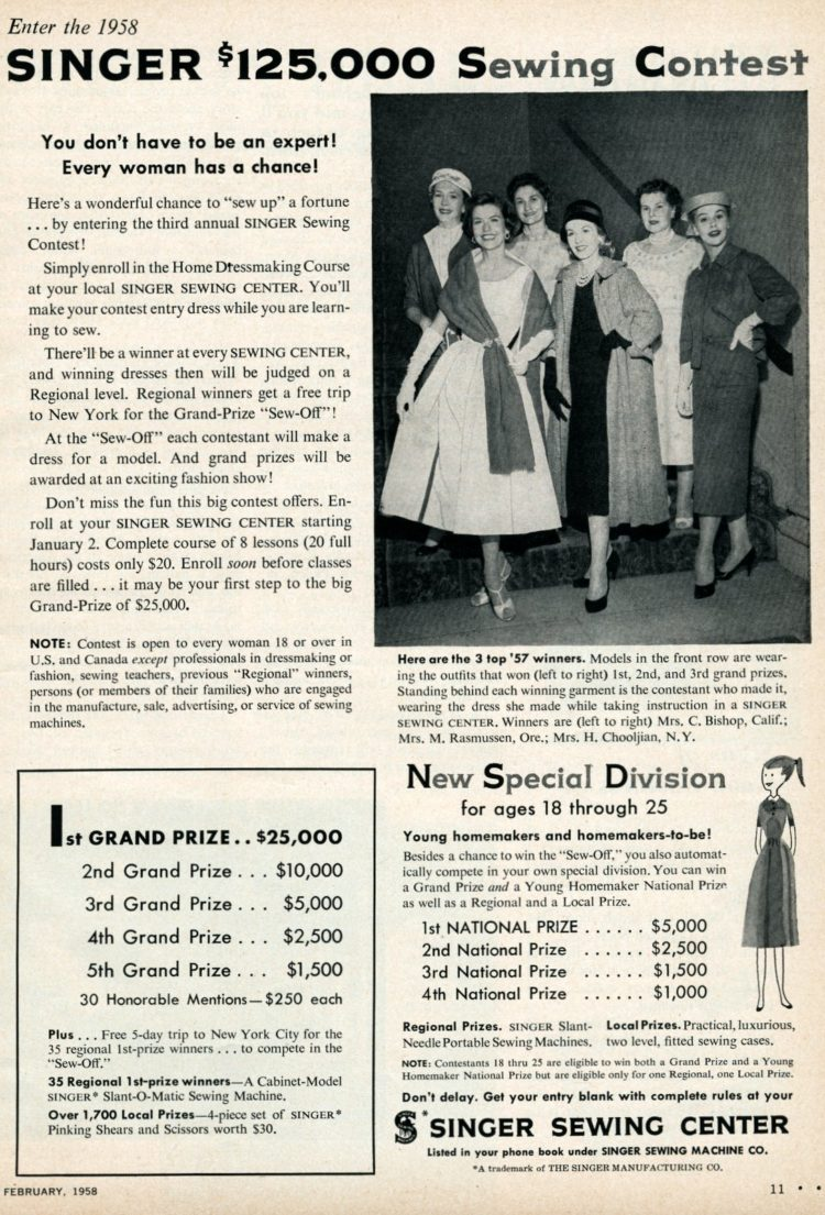 Singer sewing contest for 1958