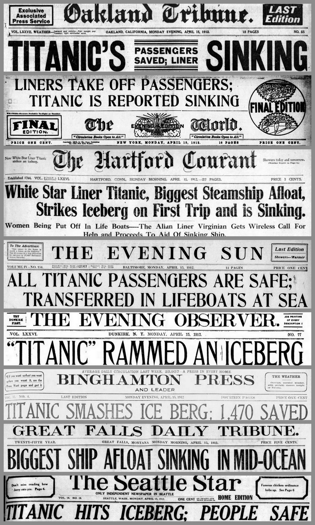 Titanic Newspaper front pages