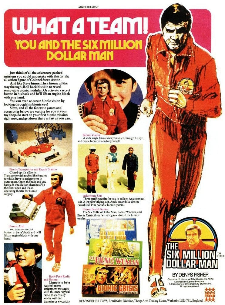 Six Million Dollar Man Steve Austin doll and toys - UK 1977
