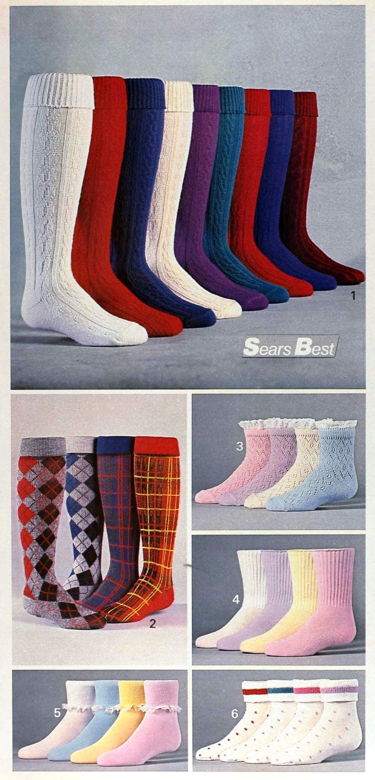 Six Sears sock collections from the late 80s