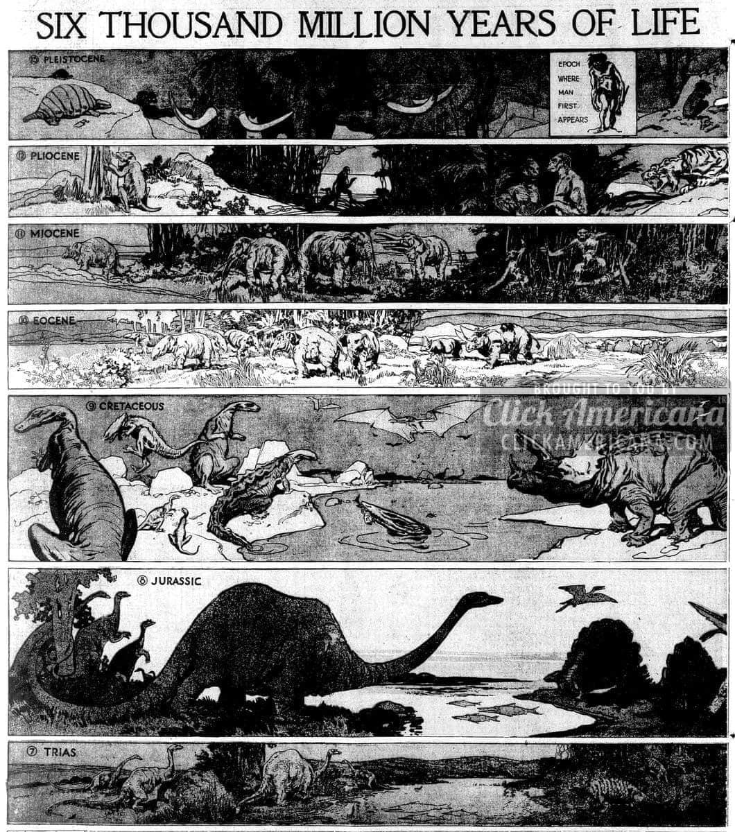 Pleistocene age onward: Six thousand million years of life (1913)