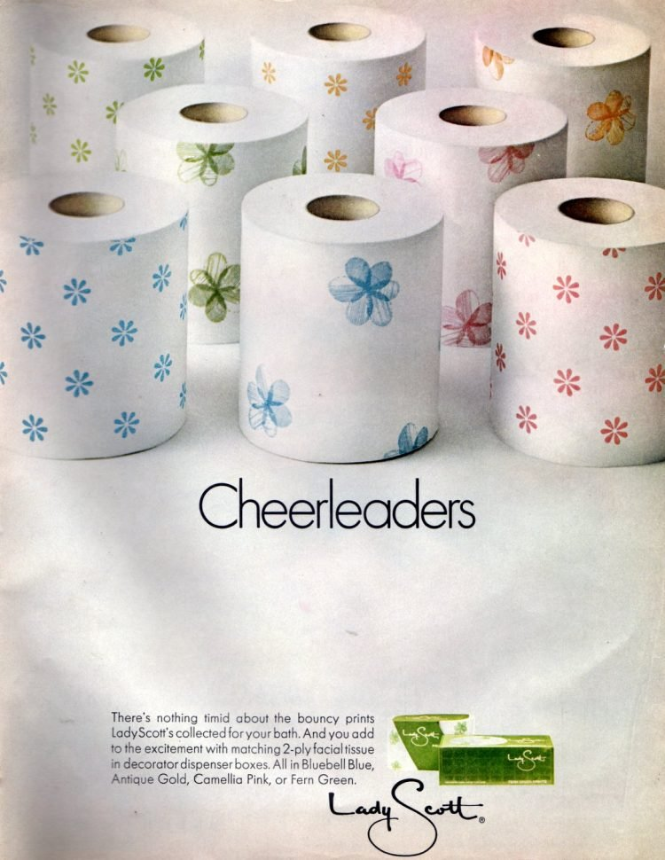 Sixties Lady Scott toilet paper with flower patterns 1967