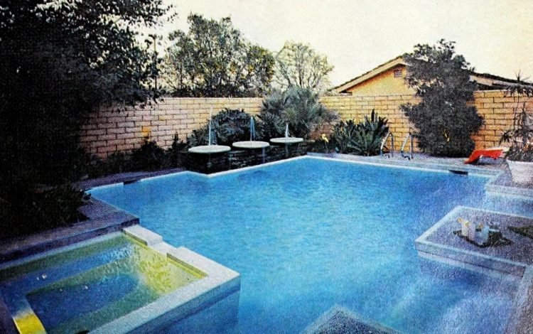 Sixties Tustin backyard swimming pool and whirlpool 1968
