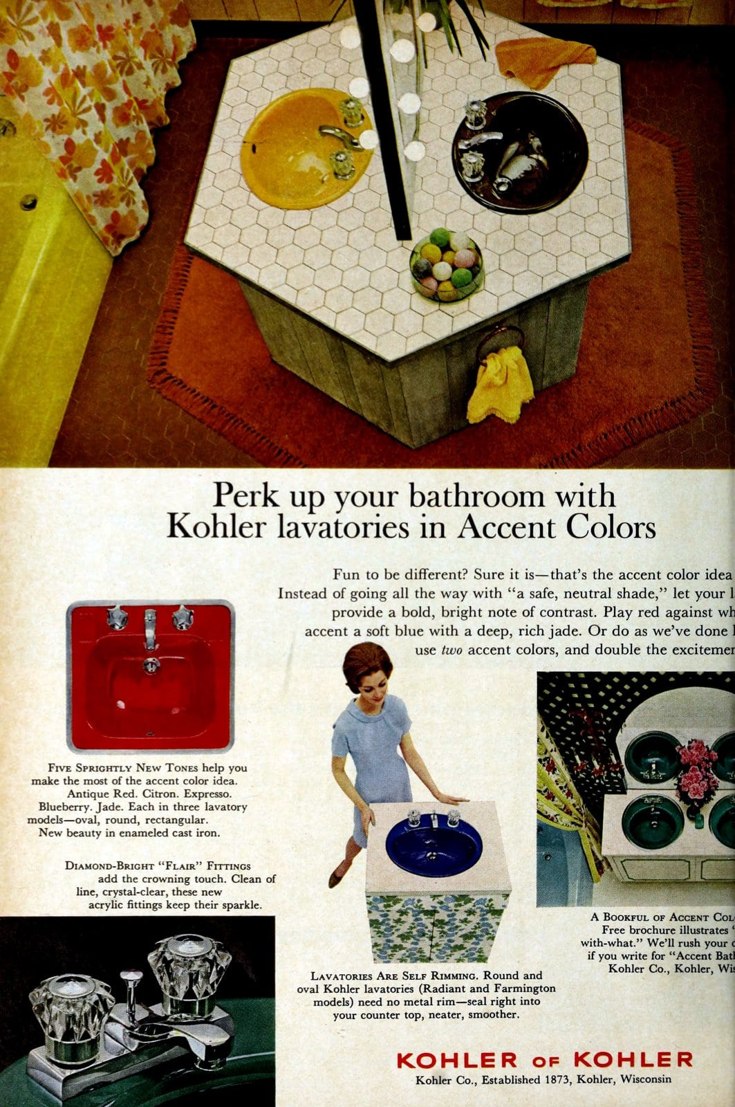 Sixties sinks in accent colors (1966)