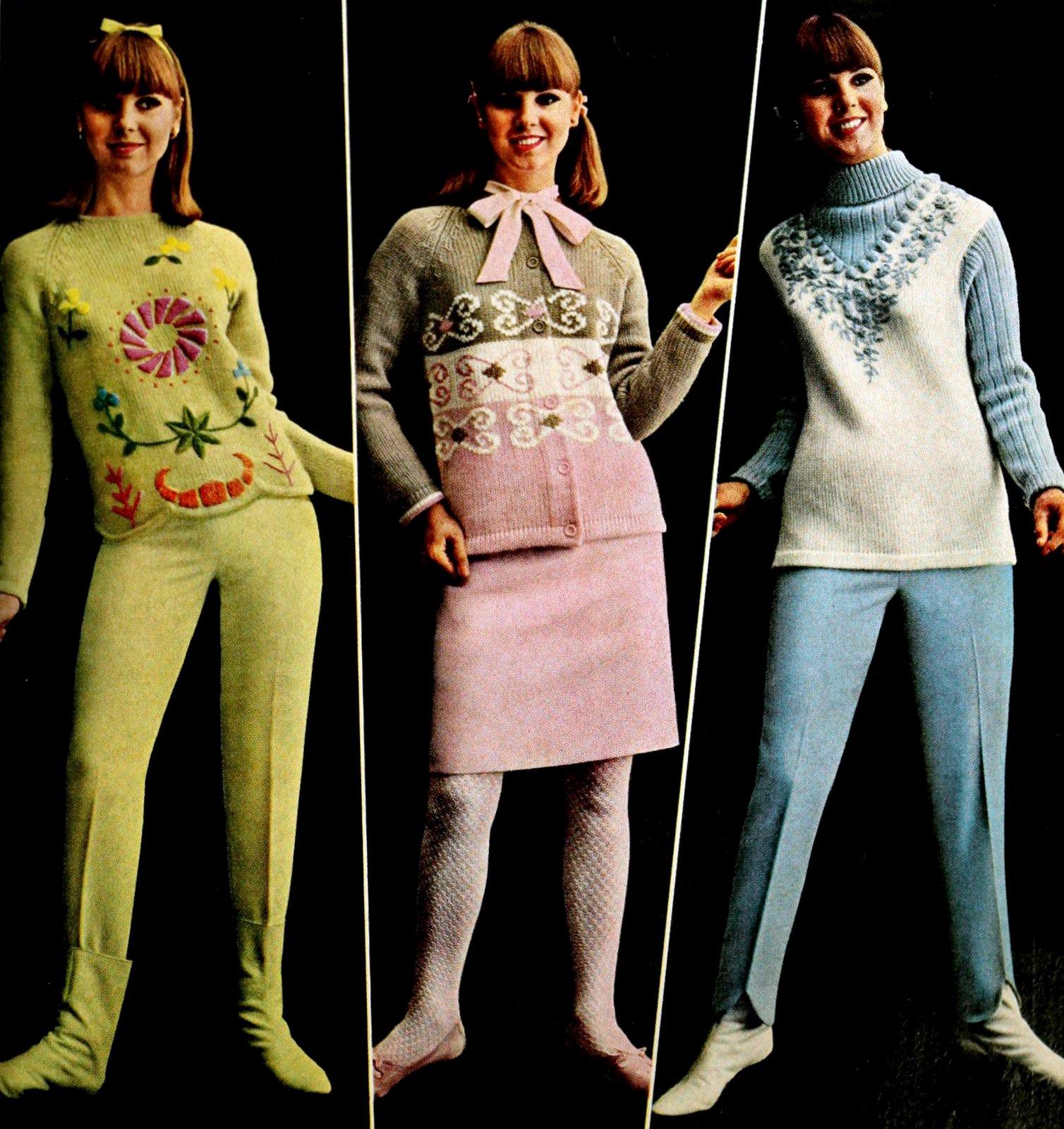 Sixties womenswear - three sweater set styles (1965)