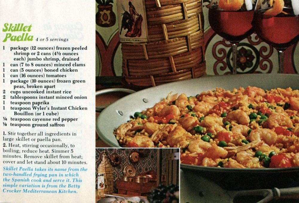 Skillet paella recipe from 1974