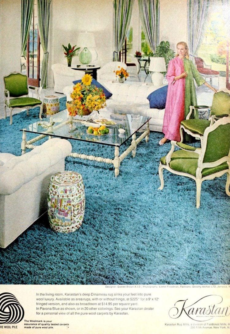 Sky blue vintage shag carpet from 1970