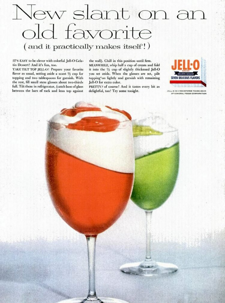 Slanted jello in glasses recipe from 1956