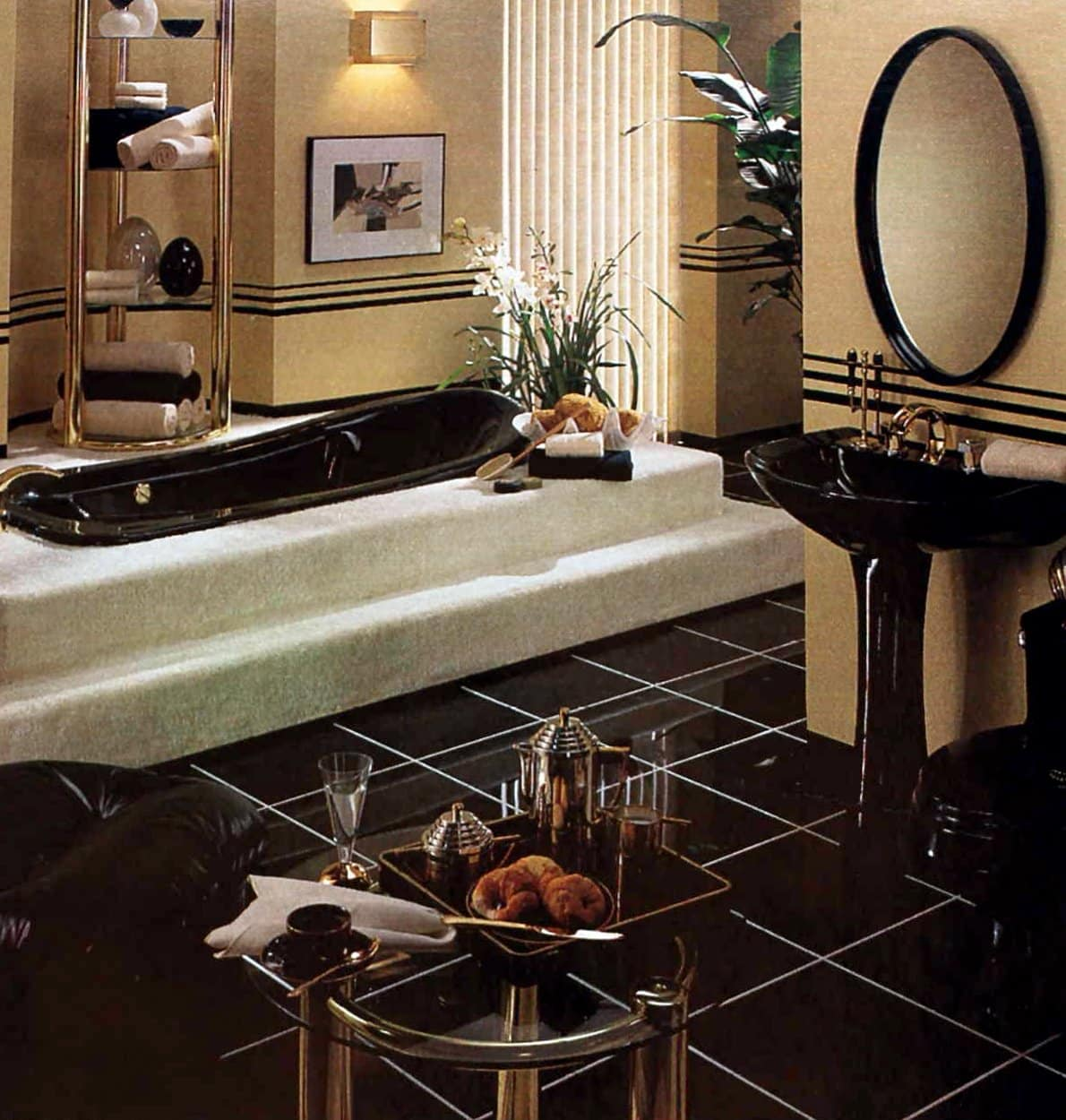Sleek 80s-style bathroom with black floor and fixtures