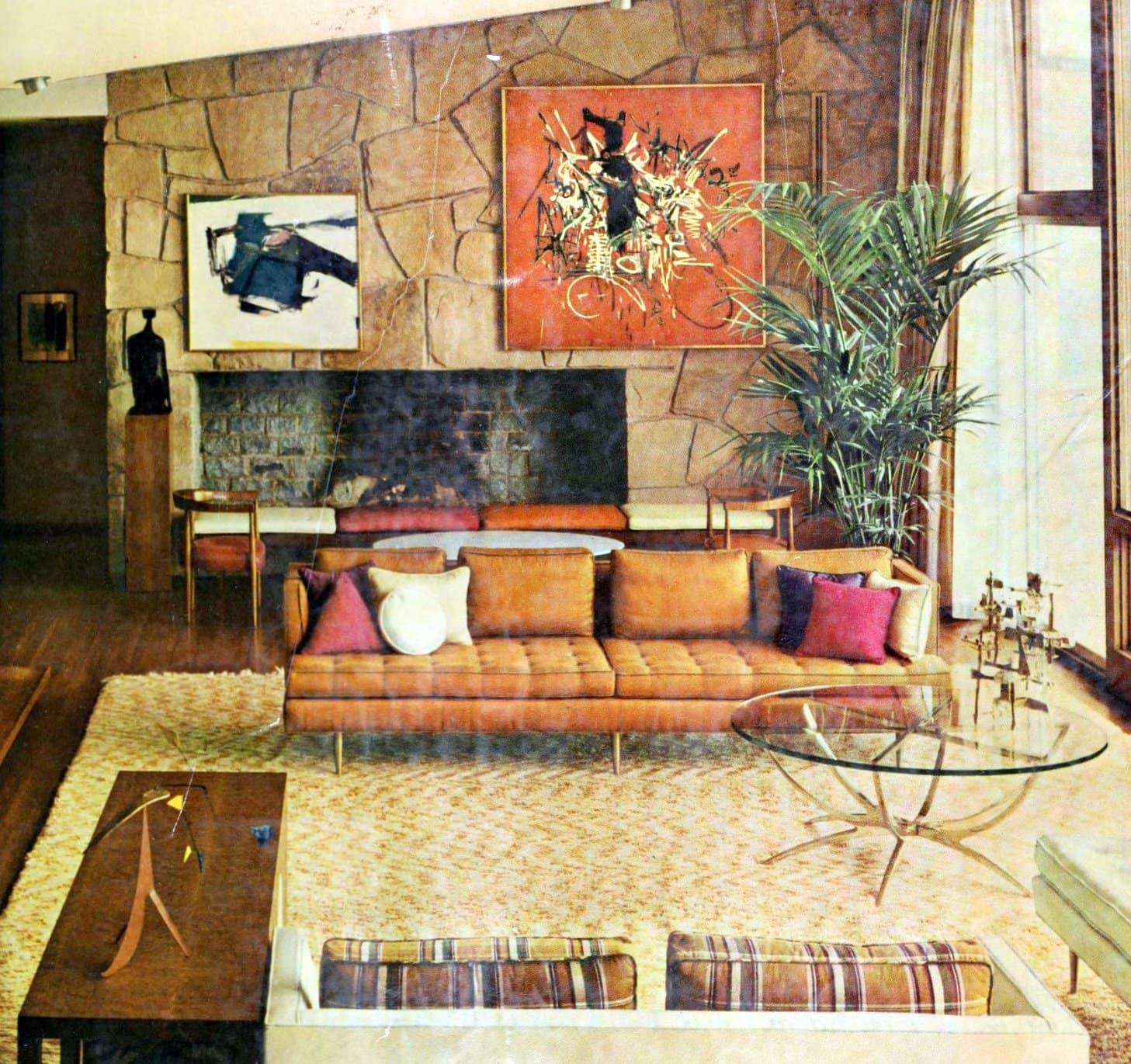 Sleek midcentury modern furniture in this early 1960s living room