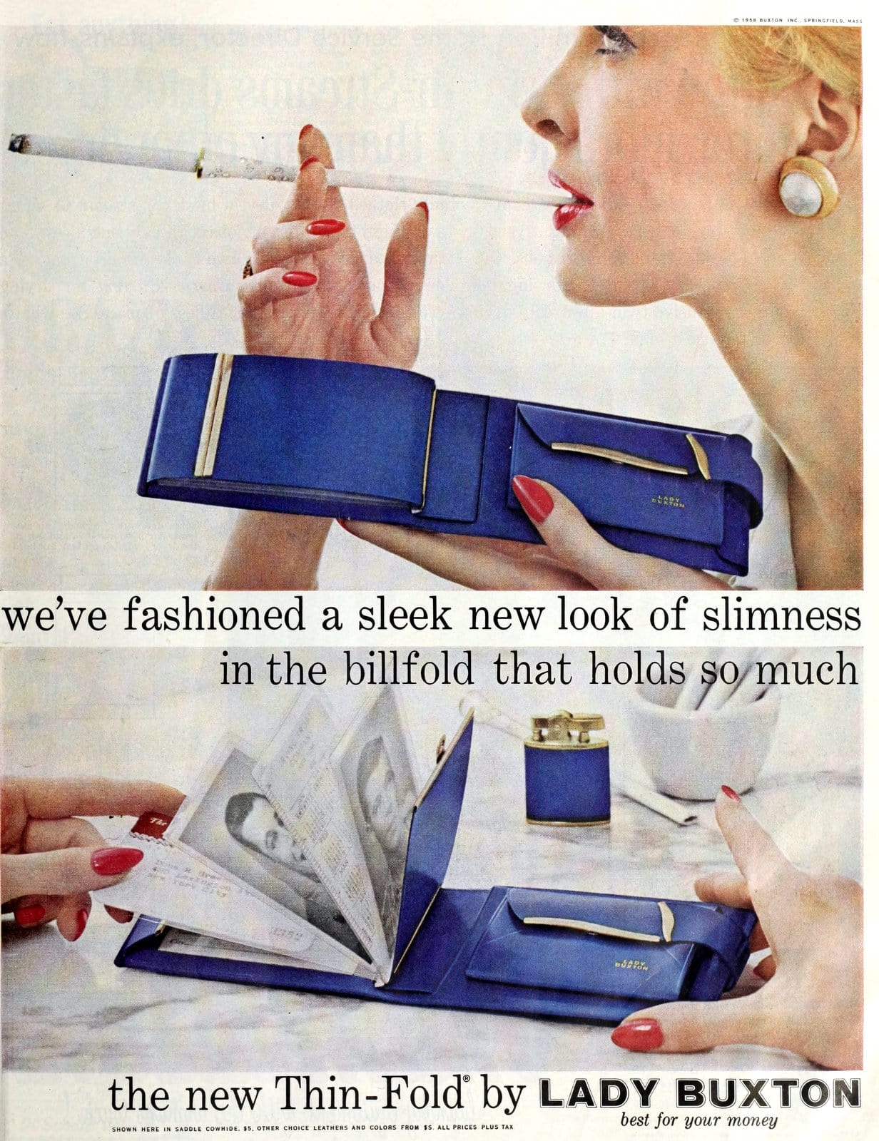 Sleek vintage blue Thin-Fold wallet from Lady Buxton (1958)