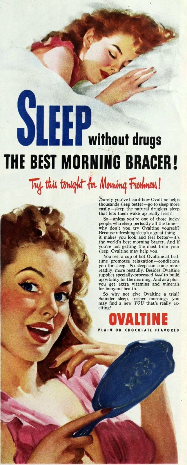 Sleep without drugs thanks to Ovaltine (1940s)