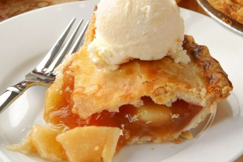 Slice of apple pie - Johnny Appleseed Pie with maple syrup