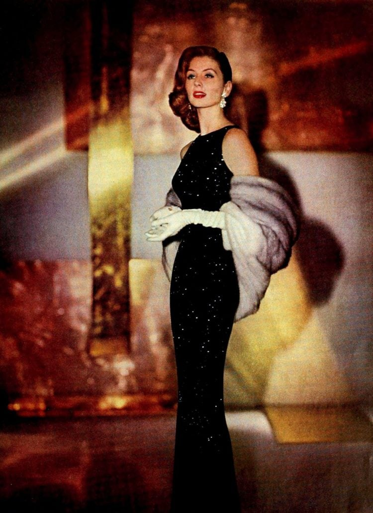 Slim black evening gown from 1957