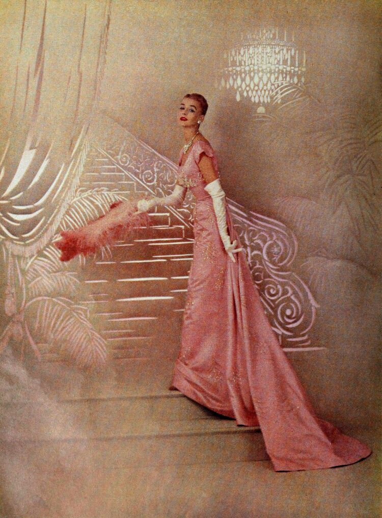 Slim dress from the 1950s - pink and white