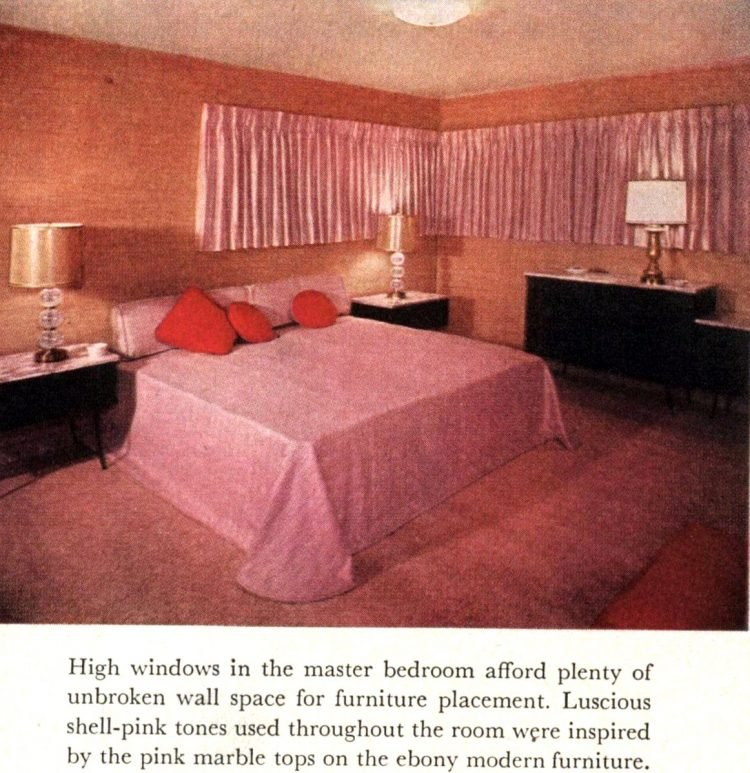 Small 50s home with main bedroom all decorated in pink