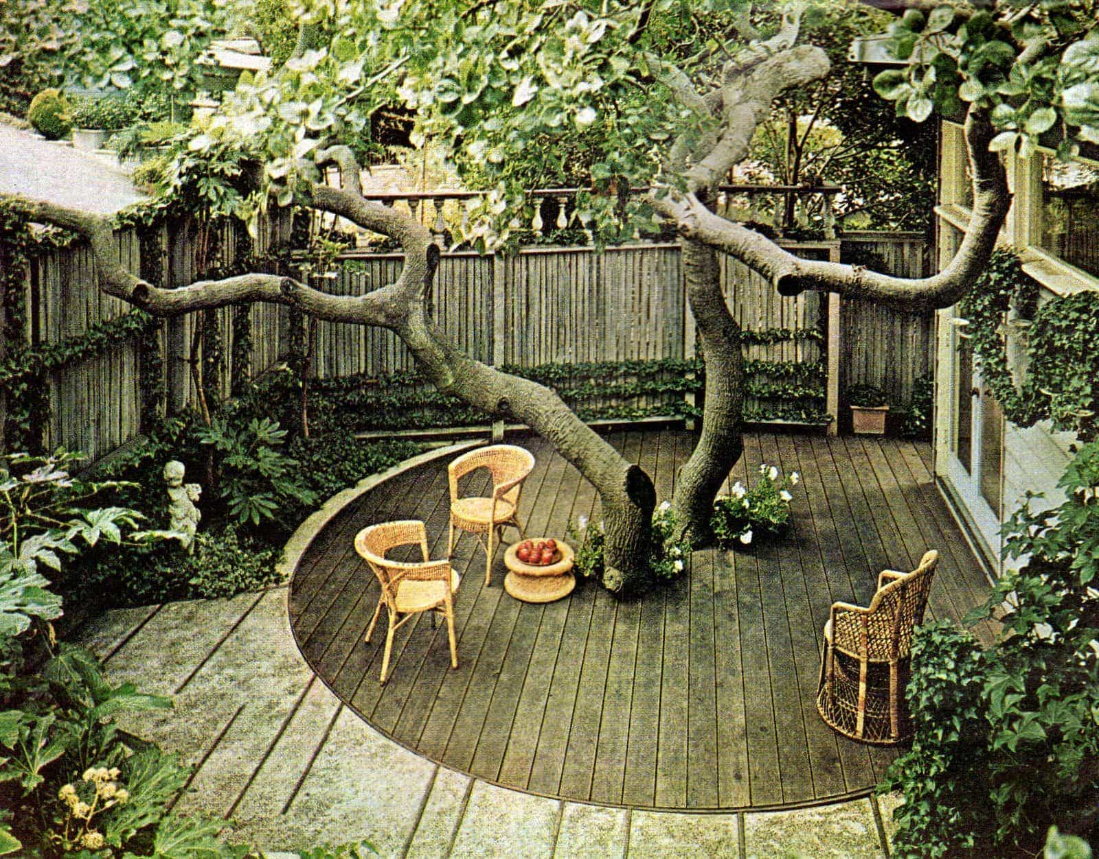 Small backyard with private deck built around a tree - Vintage landscaping from 1966