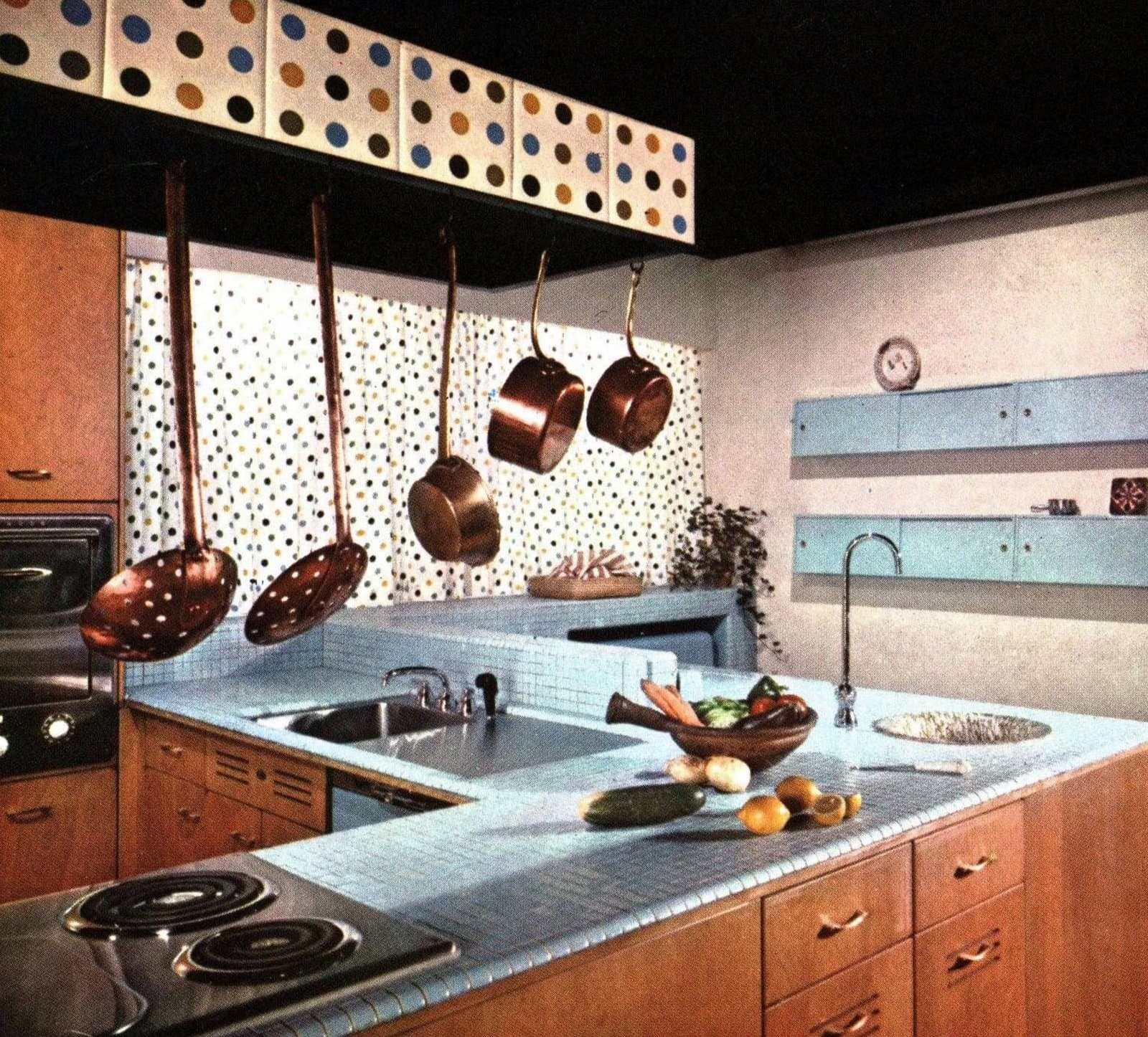 Small sky blue mosiac tile kitchen countertops from the 1960s