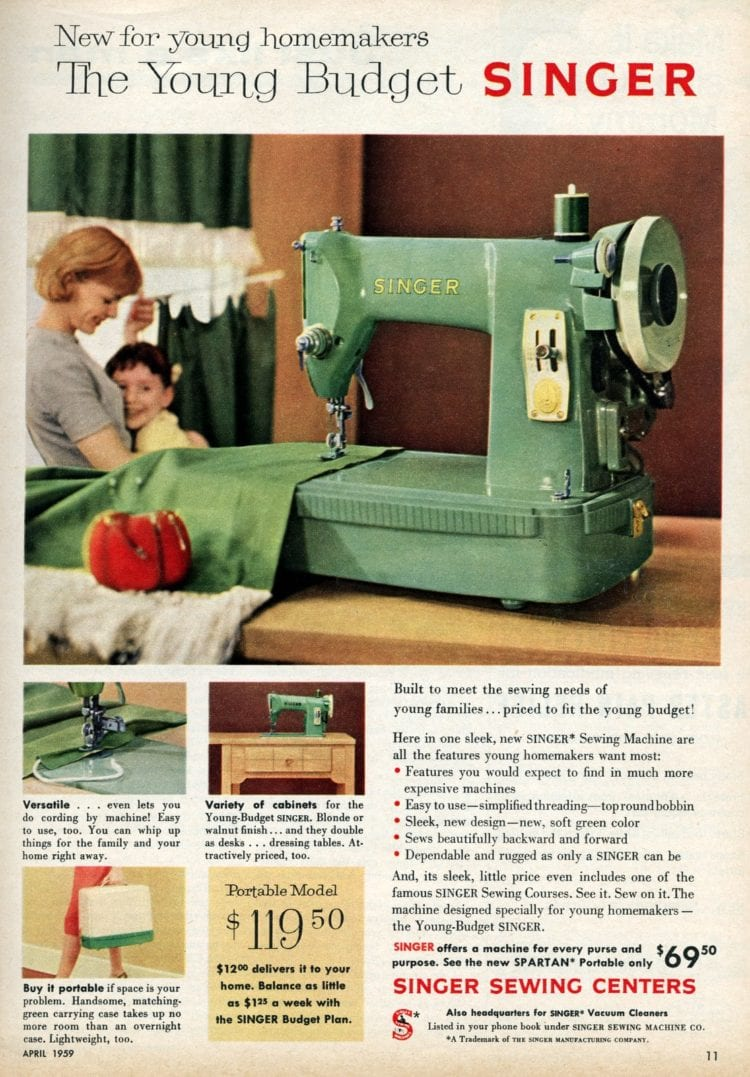 Small vintage Singer sewing machines - Portable in mint green from 1959