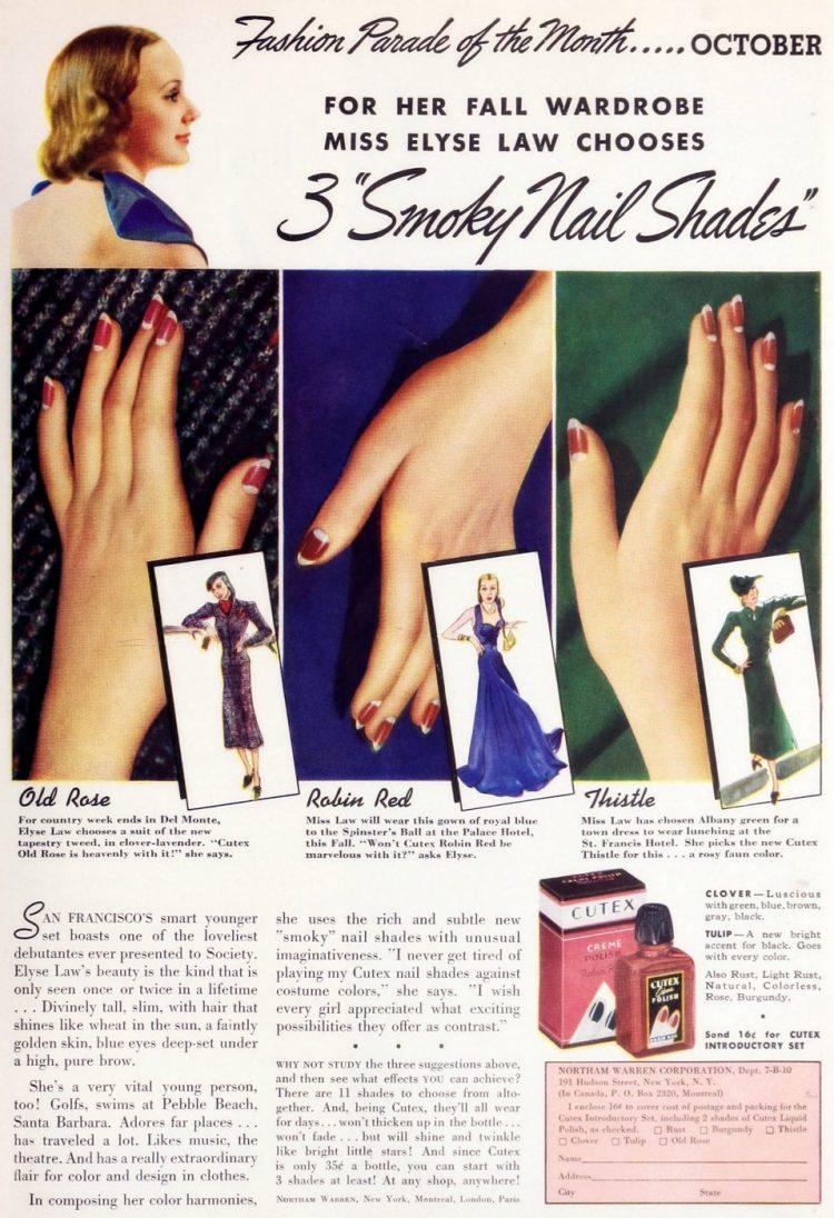Smoky nail shades from the 30s