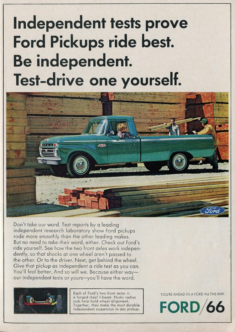 Smooth-riding Ford pickup truck 1966