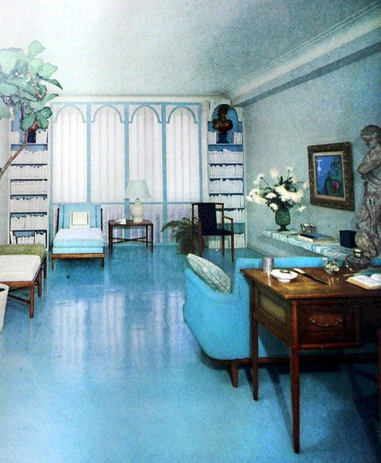 Smooth shiny sky blue retro 50s floor for a living room