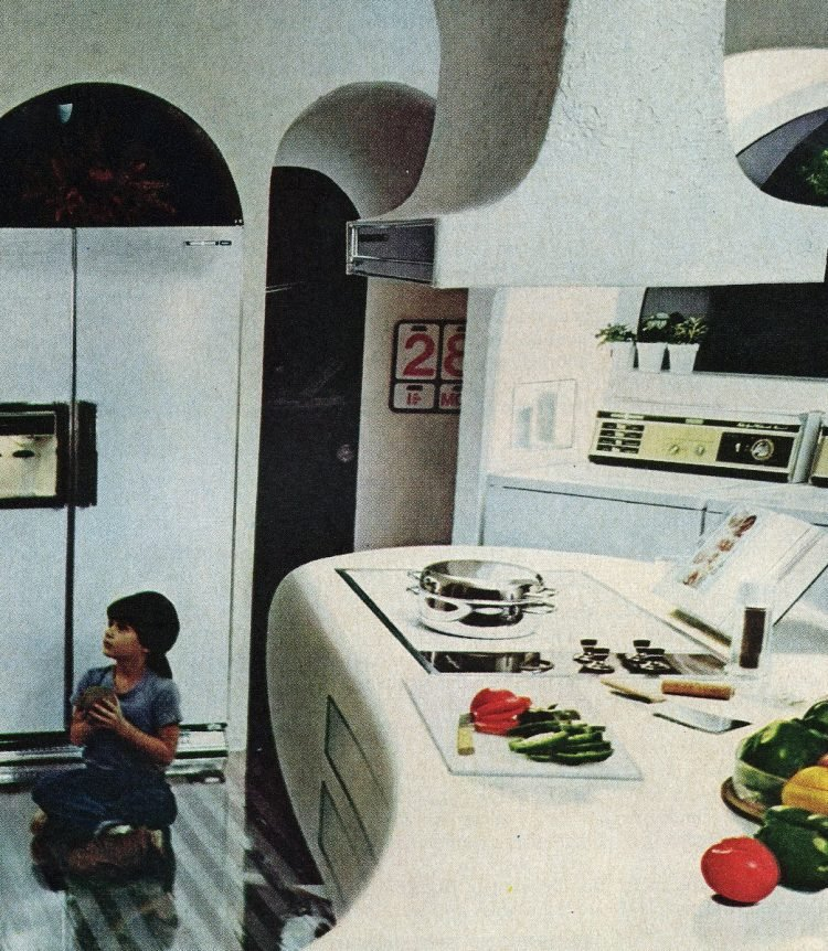 Smooth surface flat cooktop inset stove from 1975