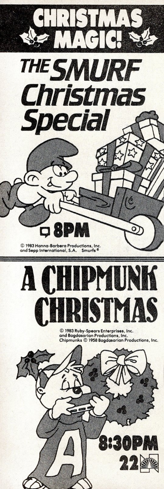 Smurf and Chipmunk Christmas specials from 1983