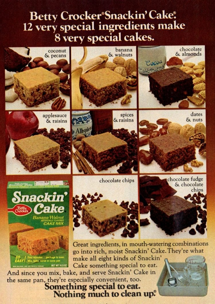 Snackin Cake mixes from Betty Crocker from Feb 1975