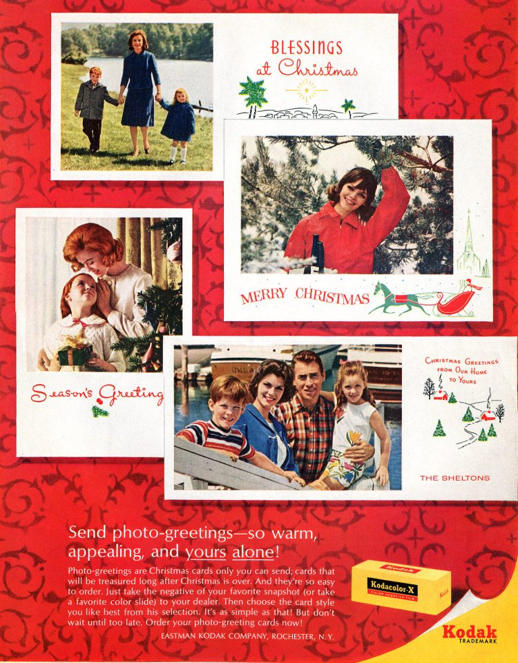 Snapshot photo Seasons Greetings cards from 1964