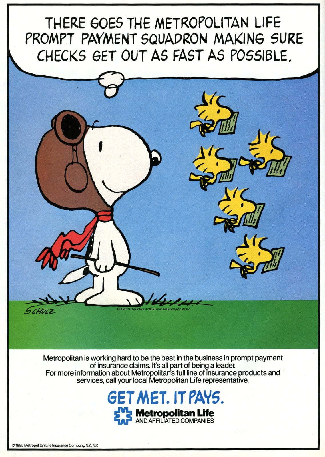 Snoopy and Woodstock - Peanuts for Met Life (1987)