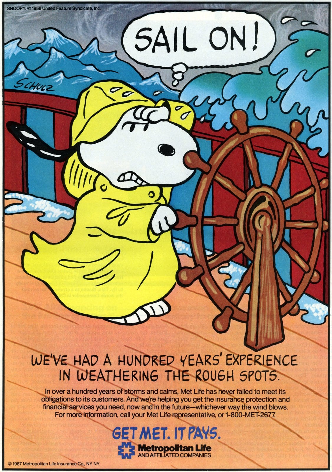Snoopy on a ship - Peanuts for Met Life (1987)
