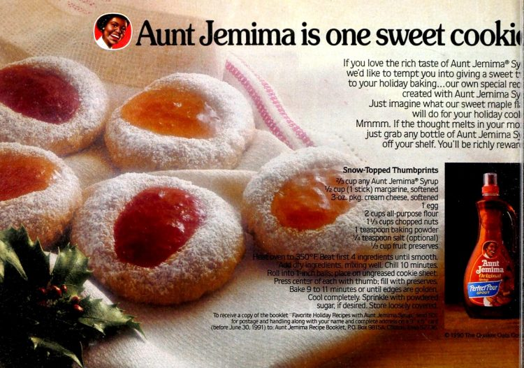 Snow-topped thumbprint cookies with a hint of maple