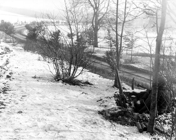 Snowy scene - 1945 Battle of the Bulge, from US DOD