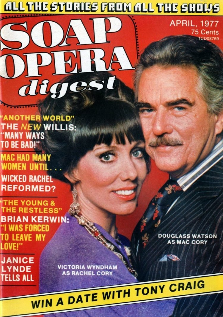 Soap Opera Digest magazine cover 1977 - Another World - Victoria Wyndham and Douglass Watson - Rachel and Mac