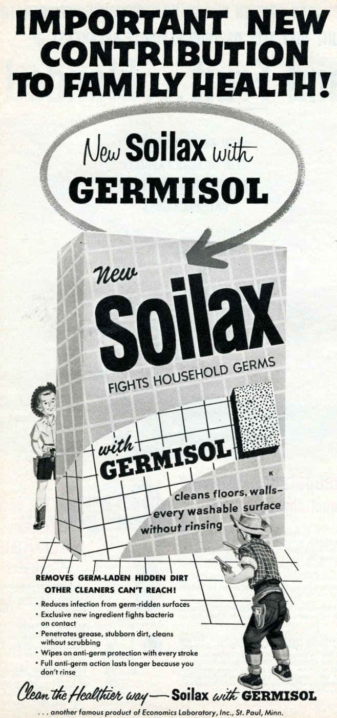 Soilax cleaner from 1950s - Bad vintage product names at Click Americana