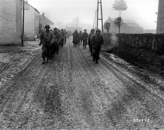 Soldiers on foot - 1945 Battle of the Bulge, from US DOD