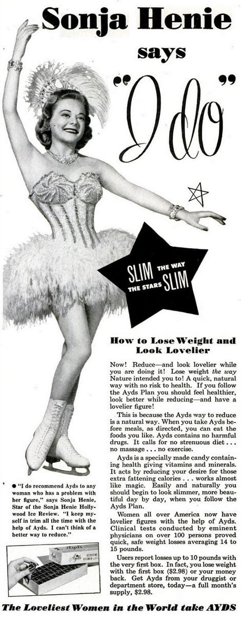 Sonja Henie for Ayds weight loss plan