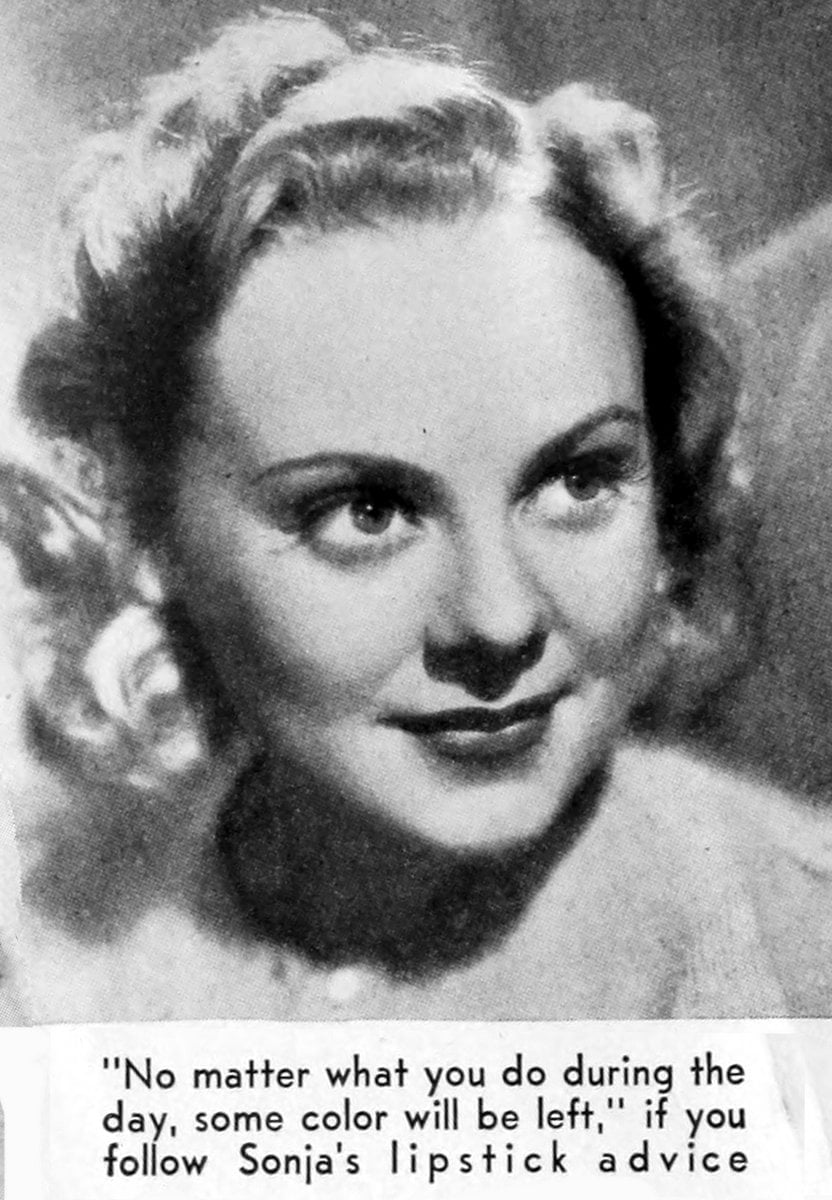 Sonja Henie on lipstick - 1939