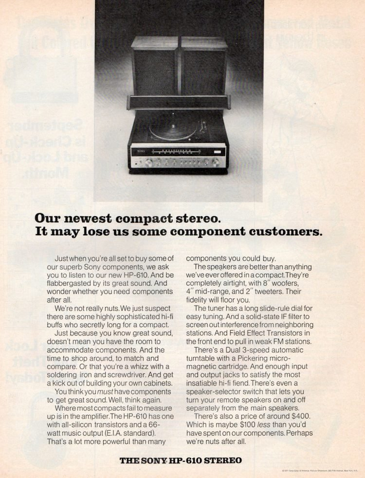 Sony HP-610 stereo system from 1971